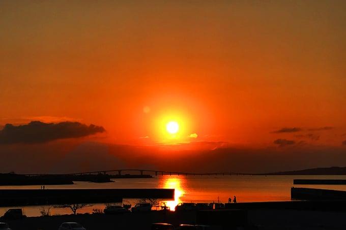 宮古島オフィスから見る夕焼け