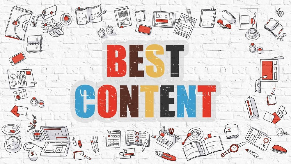 Best Content. Multicolor Inscription on White Brick Wall with Doodle Icons Around. Best Content Concept. Modern Style Illustration with Doodle Design Icons. Best Content on White Brickwall Background..jpeg