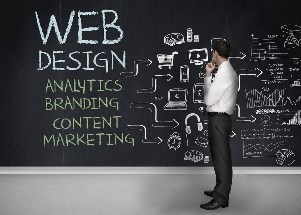 Businessman standing in front of a chalkboard with web design terms written on it-1